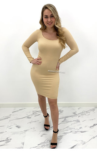 BEIGE - 'TALIA' - RIBBED BASIC DRESS