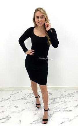 BLACK - 'TALIA' - RIBBED BASIC DRESS