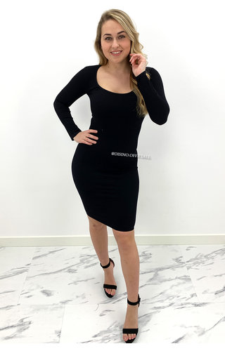 BLACK - 'TALIA' - RIBBED BASIC DRESS