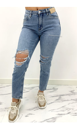 QUEEN HEART JEANS - BLUE - DESTROYED MUM JEANS - 879