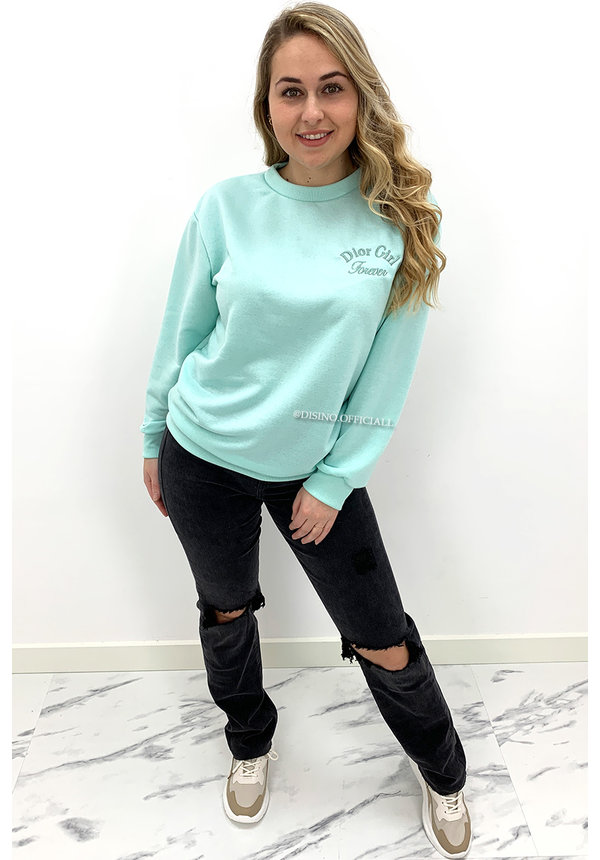 MINT GREEN - 'DOR GIRL' - SOFT EMBROIDED SWEATER