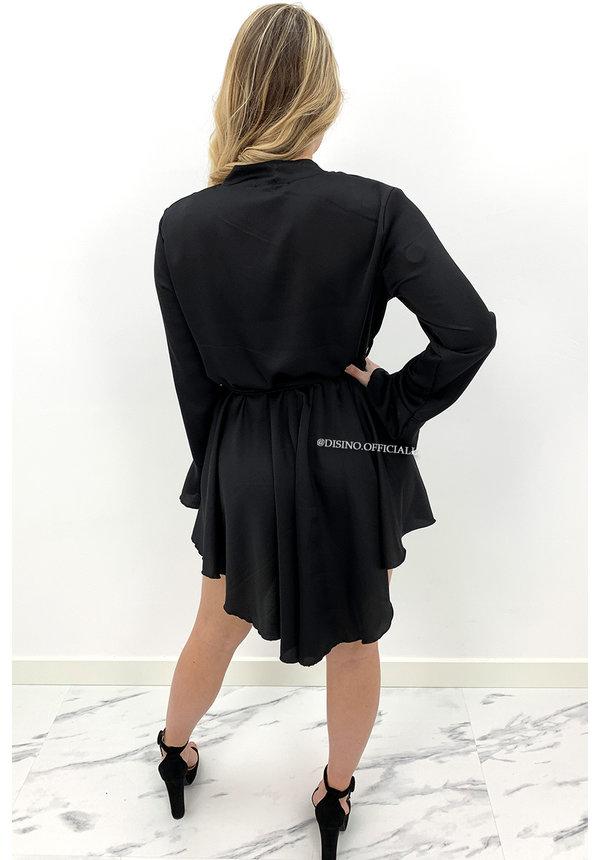 BLACK - 'ISABELLA' - SATIN BLOUSE DRESS