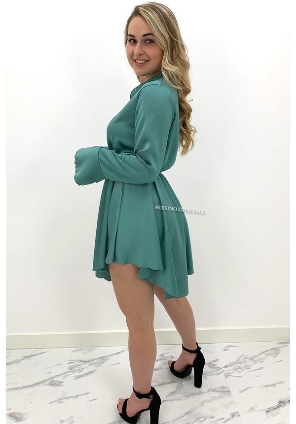 MINT GREEN - 'ISABELLA' - SATIN BLOUSE DRESS