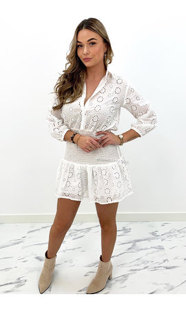 WHITE - 'TAMARA' - BRODERIE LACE SHORT SLEEVE DRESS