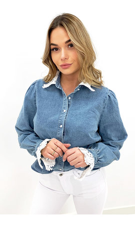 BLUE - 'MILEY' - BRODERIE LACE COLLAR DENIM BLOUSE
