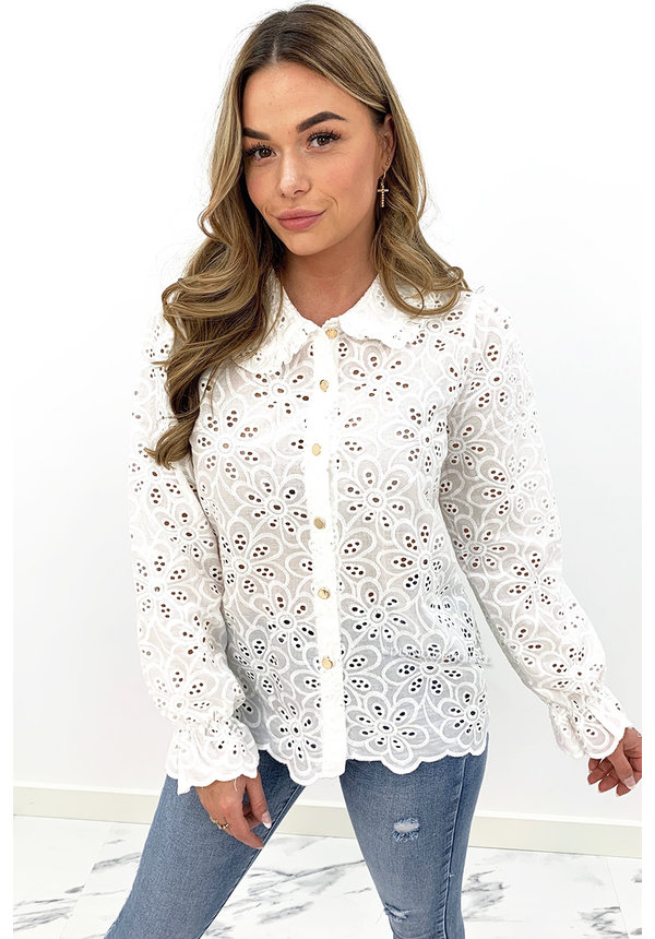 WHITE - 'ALEXIA' - ALL OVER BRODERIE LACE BLOUSE