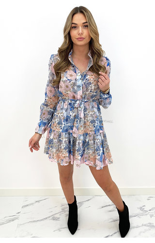 PINK - 'MADELIEF' - FLORAL LONG SLEEVE DRESS