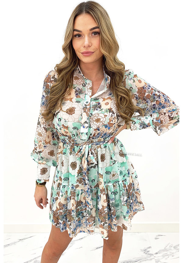 MINT GREEN - 'MADELIEF' - FLORAL LONG SLEEVE DRESS
