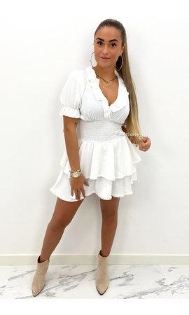 WHITE - 'LUNA' - CUTE SHORT SLEEVE RUFFLE DRESS