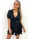 BLACK - 'LUNA' - CUTE SHORT SLEEVE RUFFLE DRESS