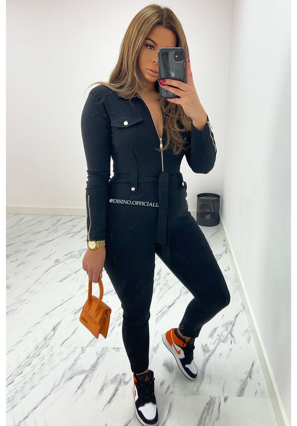 BLACK - 'CAITLYN' - SUPER STRETCH CARGO JUMPSUIT
