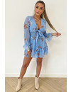 BLUE - 'FLORAL ADELINA' - FLORAL KNOT ON RUFFLE DRESS