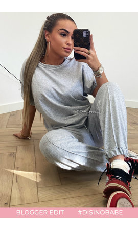 GREY - 'MANDY' - SHORT SLEEVE COMFY JOGGER SET