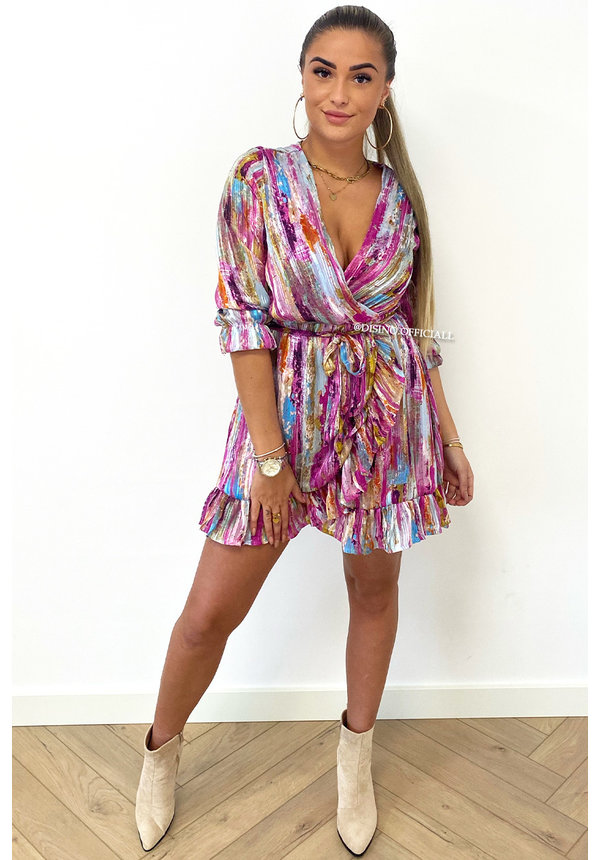 PURPLE - 'VIOLET' - INSPIRED COLORFULL RUFFLE DRESS