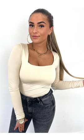 BEIGE - 'NICOLE SQUARE' - PERFECT FIT LONG SLEEVE TOP