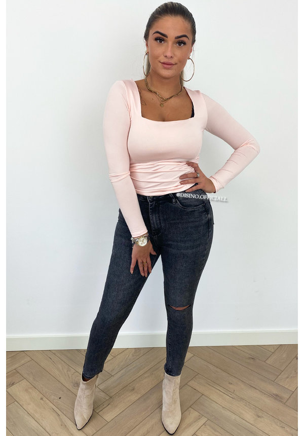 PINK - 'NICOLE SQUARE' - PERFECT FIT LONG SLEEVE TOP