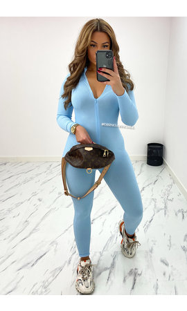 LIGHT BLUE - 'CLARISSA' - RIBBED ZIPPER JUMPSUIT