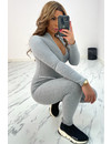 GREY - 'CLARISSA' - RIBBED ZIPPER JUMPSUIT