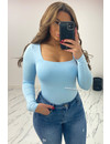 LIGHT BLUE - 'NICOLE SQUARE' - PERFECT FIT LONG SLEEVE TOP