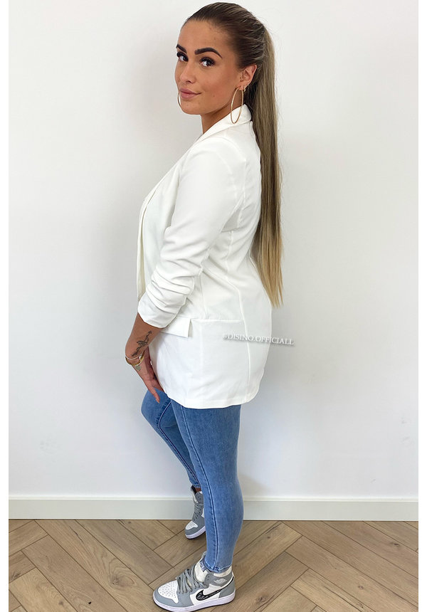 WHITE - 'LINA SHORT' - PERFECT RUCHED SLEEVE BLAZER