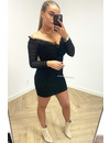 BLACK - 'CHRISTINE' - MESH OFF SHOULDER DRESS