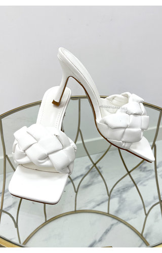 WHITE - 'MILA' - BRAIDED HEELS