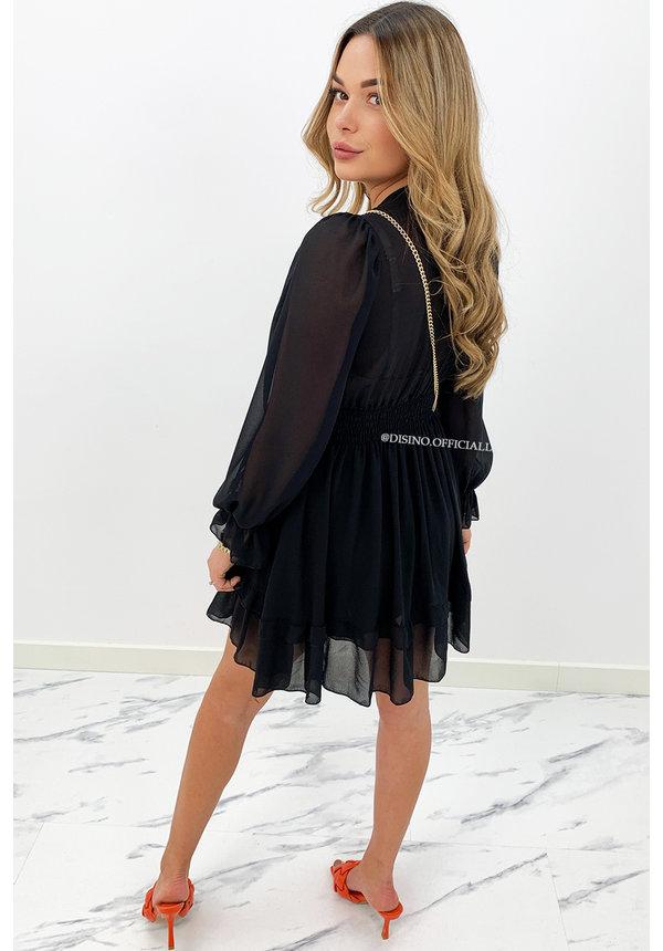 BLACK - 'ADELINA' - FLORAL KNOT ON RUFFLE DRESS