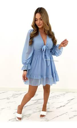 BLUE - 'ADELINA' - FLORAL KNOT ON RUFFLE DRESS