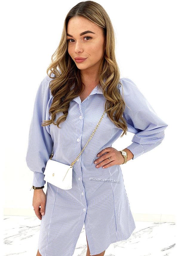 BLUE - 'SARAH' - STRIPED BOYFRIEND BLOUSE DRESS