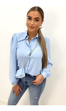 BLUE - 'MAEVE' - WIDE COLLAR BLOUSE + BAG