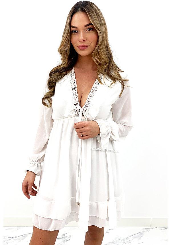 WHITE - 'ANNEROOS' - V NECK RUFFLE DRESS