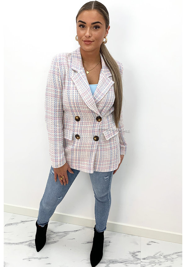 PINK/BLUE - 'KATE' - DOUBLE BREASTED TWEED JACKET