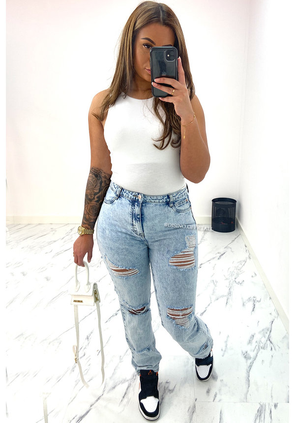 QUEEN HEART JEANS - WHITE WASH BLUE - EXTREME RIPPED STRAIGHT FIT JEANS