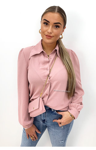 PINK - 'MAEVE' - WIDE COLLAR BLOUSE + BAG