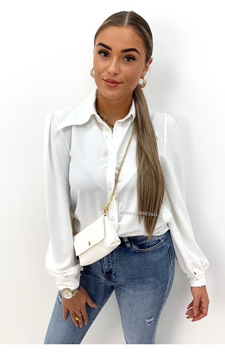 WHITE - 'MAEVE' - WIDE COLLAR BLOUSE + BAG