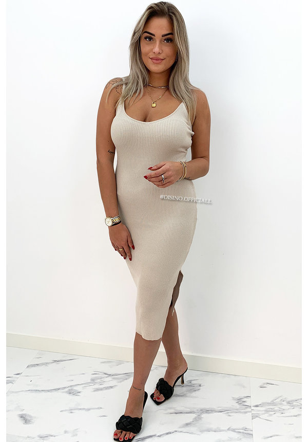 BEIGE - 'ROMY' - BASIC RIBBED MIDI SPLIT DRESS
