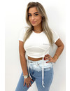 WHITE - 'KIRA TOP' - RUCHED SHORT SLEEVE CROP TOP