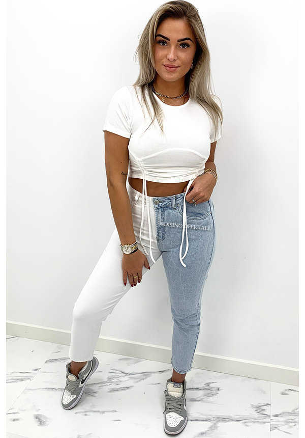 QUEEN HEART JEANS - TWO TONE JEANS - STRETCH MUM JEANS - 035