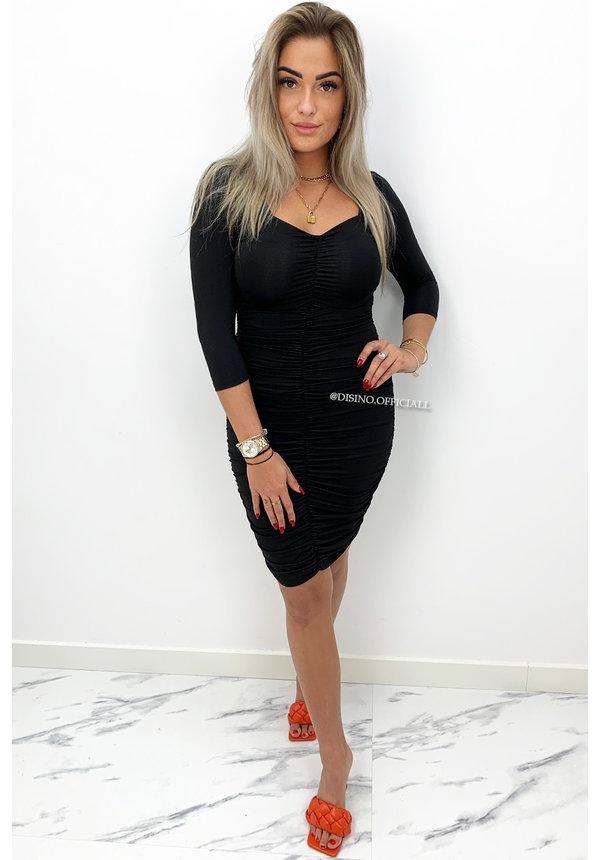 BLACK - 'ALISHA' - PERFECT FIT RUCHES DRESS