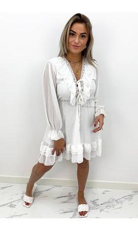 WHITE - 'ANNEROOS V2' - V NECK RUFFLE DRESS