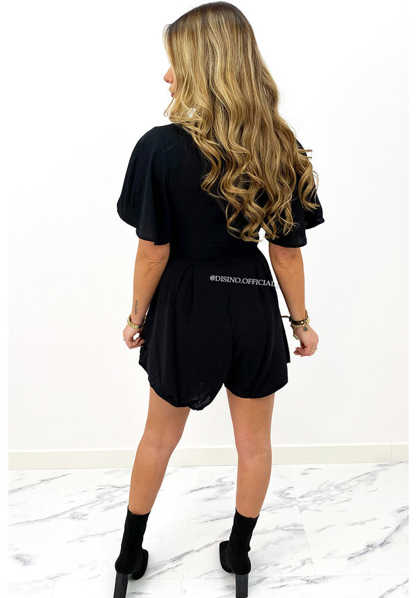BLACK - 'STACEY' - CUTE RUFFLE PLAYSUIT