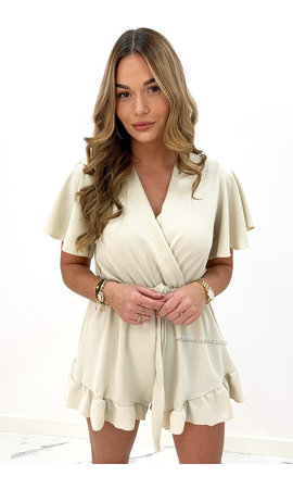 BEIGE - 'STACEY' - CUTE RUFFLE PLAYSUIT