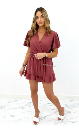 OLD PINK - 'STACEY' - CUTE RUFFLE PLAYSUIT