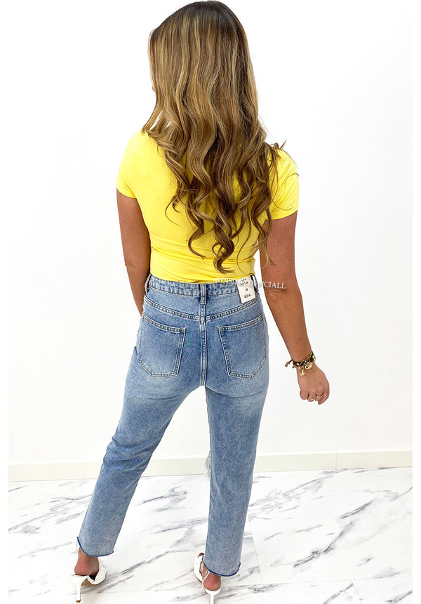 YELLOW - 'SHORT NICOLE SQUARE' - PERFECT FIT SHORT SLEEVE TOP