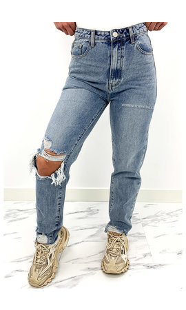 REDIAL - WHITE WASH BLUE - HIGH WAIST RIPPED MOM JEANS - 1357