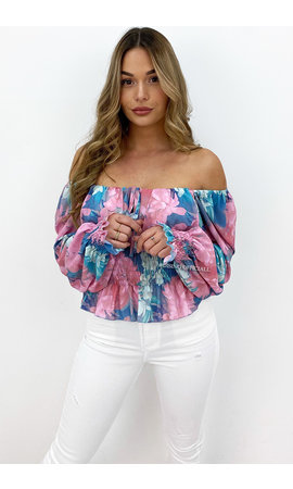 BLUE - 'ALYSSA TOP' - OFF SHOULDER FLORAL RUFFLE TOP