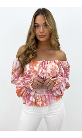 PINK - 'ALYSSA TOP' - OFF SHOULDER FLORAL RUFFLE TOP