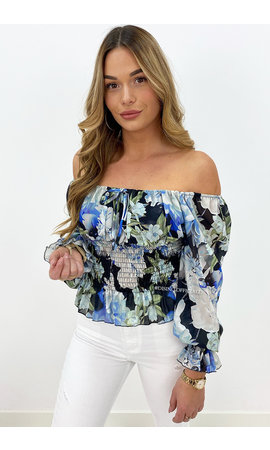 BLACK - 'ALYSSA TOP' - OFF SHOULDER FLORAL RUFFLE TOP