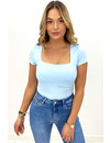 LIGHT BLUE - 'SHORT NICOLE SQUARE' - PERFECT FIT SHORT SLEEVE TOP