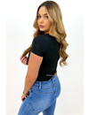 BLACK - 'SHORT NICOLE SQUARE' - PERFECT FIT SHORT SLEEVE TOP